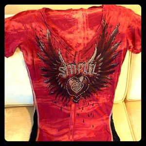 Sinful by Affliction ladies top with rhinestones
